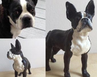 Custom Boston Terrier Sculpture | 3D Printed & Hand-painted | Pet Portrait Dog Statue Figurine Memorial | Boston Terrier Collectibles