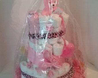 Beautiful Pink Diaper Cake
