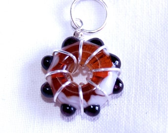 Lampwork glass pendant or keyring - Wire wrapped - Amber, black and white glass - SRA