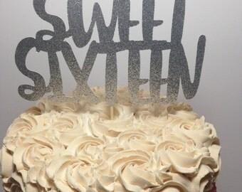 Sweet Sixteen Glitter Cake Topper