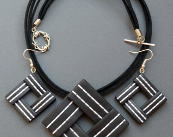 Geometric necklace Geometric pendant Geometric earrings Black necklace Black pendant Black earrings Square necklace Square earrings
