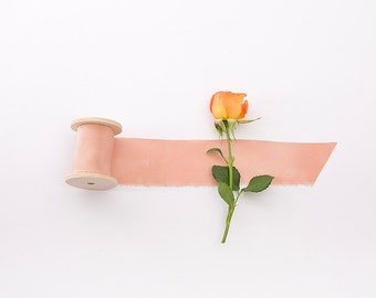 Silk Ribbon on wooden spool in Peach color / Hand dyed, 1.5 inch wide, perfect for wedding decorations