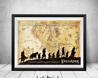 Lord of the Rings Print, Middle Earth Print, Middle Earth Map, Lord Of The Rings Map, Wall Art Decor, Lord Of The Rings Art, Printable Art