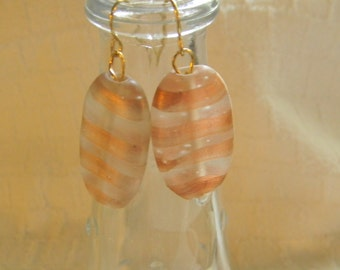 Copper and Clear Glass Bead Earrings