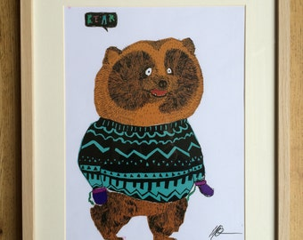 Mr Bear wearing a Jumper and Mittens, Snazzy Animals, Animal Print, Animals Who Wear Clothes