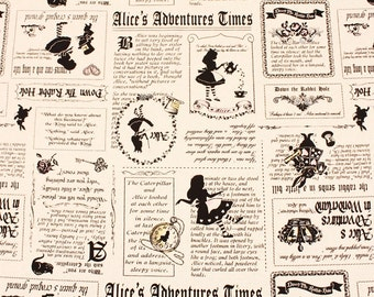 Alice in Wonderland Fabric made in Japan / Newpaper Style / Cotton, Linen Canvas / Half Yard 18inch x 42inch