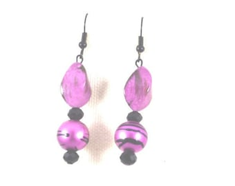 Hot Pink and Black Drop Earrings