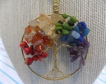 Rainbow Gemstone Tree of Life Pendant