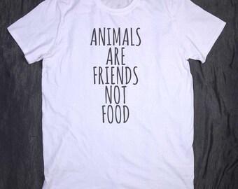 Vegetarian Shirt Animals Are Friends Not Food Tumblr Slogan Funny Vegan T-shirt
