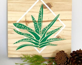 Wood Wall Art, Aloe Plant Painting, Modern Aloe Plant, Aloe Home Décor, Aloe Wall Hanging, Wood Wall Hanging, Wood Décor, Wooden Aloe Sign