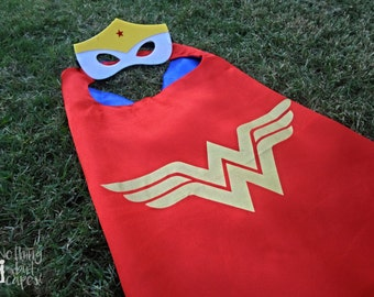Wonder Woman Cape & Mask - kids cape, superhero red/blue satin cape w/ velcro closure, halloween costume, dress up, girls birthday party
