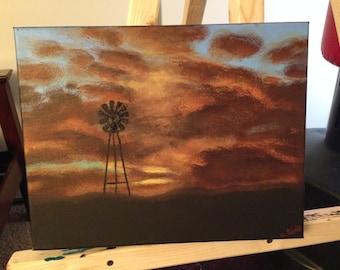 Amarillo Sunset — handmade original acrylic painting of windmill silhouette with a satin finish