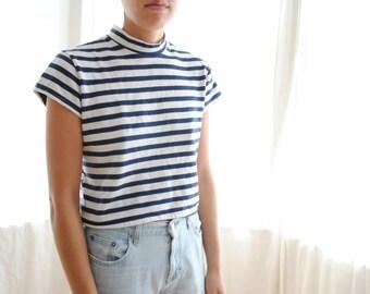 Striped Mock Neck Top - Women's Small