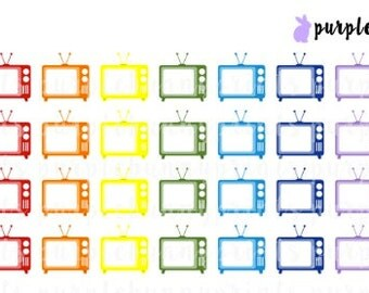 Rainbow TV Icons // Planner Stickers!