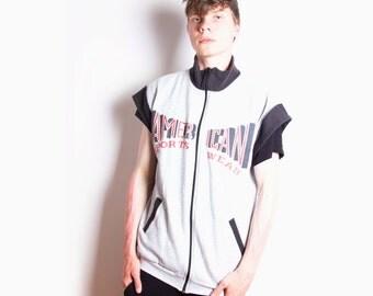 Vintage 90s, Grey, Sleeveless, 'American Sportswear', Thin, Light, Jacket // Size M