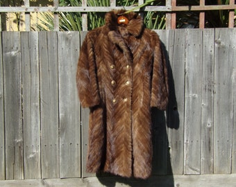 Vintage Mink Coat Hudson Real Fur Lush Brown Autumn Winter Fashions made in Canada Size 10