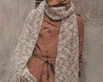 Womens Hat, Scarf and Gloves Knitting Pattern : DK . Ladies Accessories . PDF Digital Download