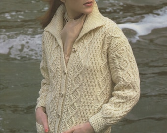 PDF Ladies Aran Jacket Knitting Pattern : Womens 32 - 41 inch bust / chest . Long Cardigan . Aran Yarn . Long Line Jacket . Instant Download