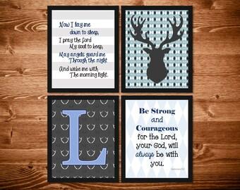 Gray and Blue Woodland Boys Nursery Decor, Personalized Nursery Decor, Scripture Decor