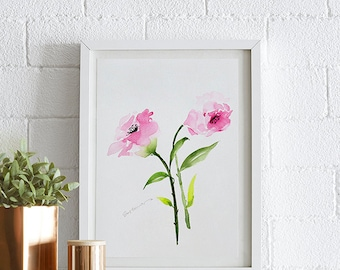 Eustoma Watercolor painting, Flowers, Floral Print, Printable art, Home decor, Original art, Floral wall art, Instant Download