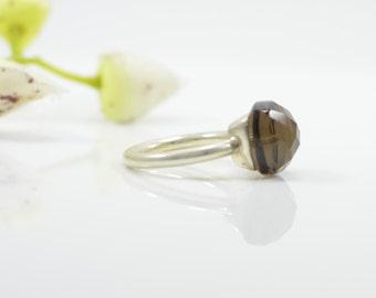 Smoky Quartz Ring - Stackable Ring - Silver Ring - Birthstone Ring - Gemstone Ring - Stack Rings - Cushion Cut Rings - Bezel Set Ring