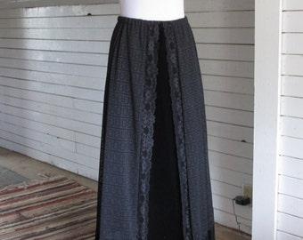 Long Velvet and Lace Skirt