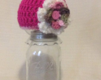 Newborn Pink Perfection Hat with Flowers