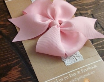 Lace Headband, Baby Girl Accessories, Bow Headband, Pink Bow, Infant Toddler Sizes