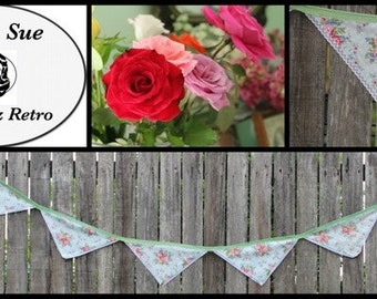 Baby blue & red floral bunting
