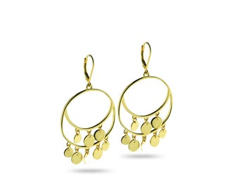 """18k gold plated sterling silver """"Italian Art"""" inspired statement Gypsy Style earrings in gift box"""