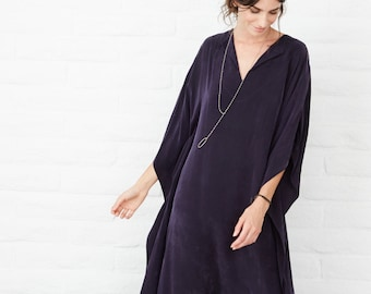 Long Navy Caftan, maxi dress, long kaftan, caftan dress, long dress, tunic, bohemian dress, boho dress, festival dress