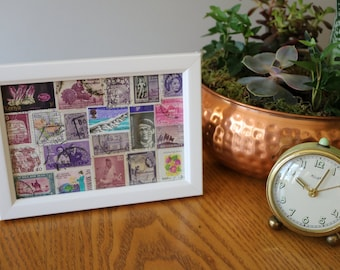 Vintage and Unique Purple Stamp Collage