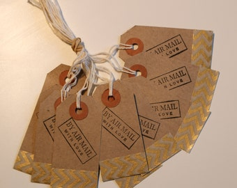 Pack of 10 Hand stamped, Gold Gift tags, Labels for Presents, Birthdays.
