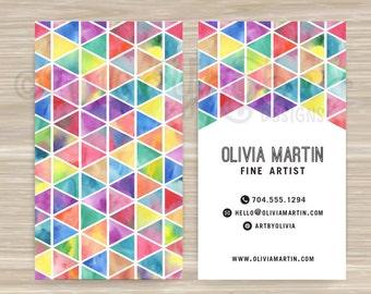 Geometric, Triangle, Color, Watercolor, Fine Artist, Business Card, Vistaprint, 3.5 x 2, Watercolor