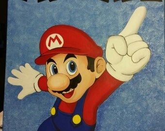 "Hand-painted Super Mario 18 x 24 Canvas ""Michael"""
