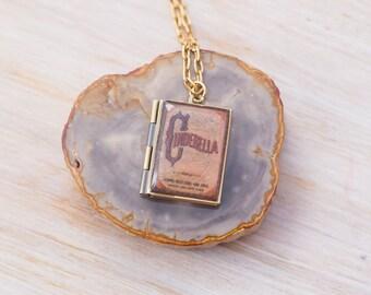 Cinderella Brass Book Necklace Book Gift Literary Gift Book Locket