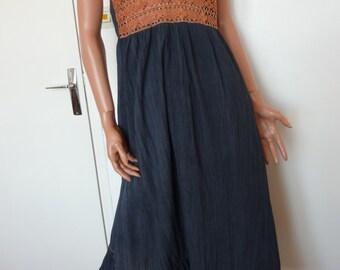 Vintage 70s Dress WOK ADLER Original Tel Aviv Israel 100% Cotton Cheesecloth Halter Neck Flared Maxi Seventies Crochet