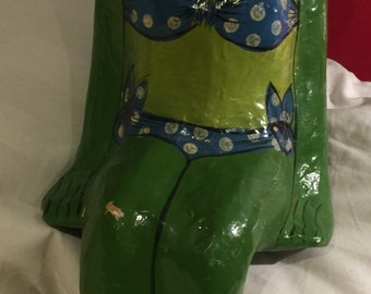 Green paper mache frog 52cm high