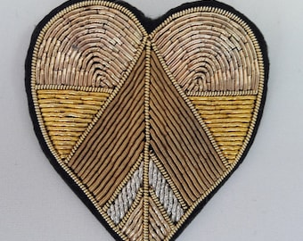 """Brooch  embroidered with gold thread""""Golden heart"""""""