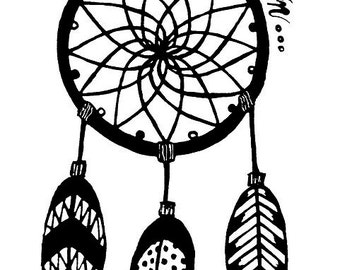 White vinyl decal dream catcher 10 inches tall
