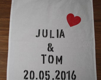 Teatowel personalized wedding present