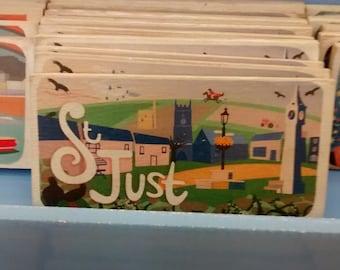 Cornish towns wooden fridge magnets    St Just    Mousehole   Sennen   St Ives