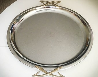 "Vintage Kromex Tray 15"" / ""Mode"" style / Atomic Chrome Serving Platter with Gold Tone Handles"