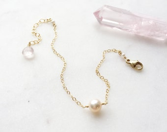 Freshwater Pearl & Rose Quartz Simplicity Chain Bracelet Charm Wire-Wrapped Gem Stone Delicate Minimal Everyday Natural // 14K Gold Filled