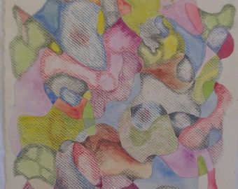 A vibrant, original colored pencil drawing on paper