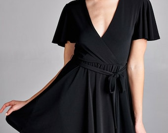 Short Sleeve Nursing Wrap Dress