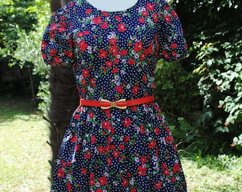 Cotton dress printed flowers 1960 /34(US)-(S)
