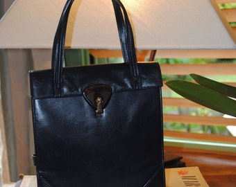 Navy blue leather bag /1960s
