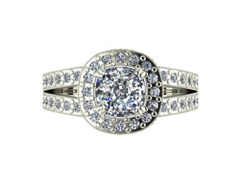 Cushion Halo Moissanite Engagement Ring in 9 Carat White Gold