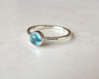 Blue Topaz Sterling Silver Stacking Ring - Sterling Silver Stacking Ring - November Birthstone Jewellery - Blue Topaz Ring - Blue Stone Ring